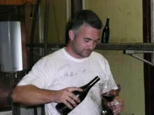 Nicolas Rossignol sampling his wine
