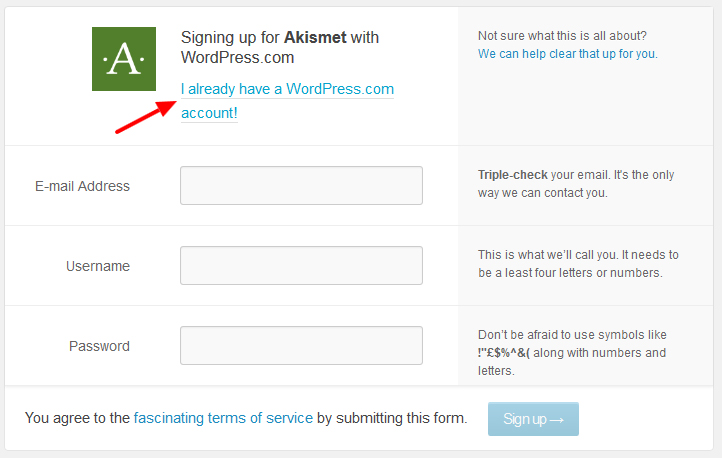 akismet Sign up for WordPress - مجلة ووردبريس