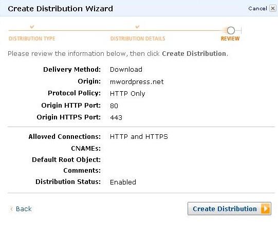 AWS Management Console Create Distribution Wizard step last e1314228472495 - مجلة ووردبريس