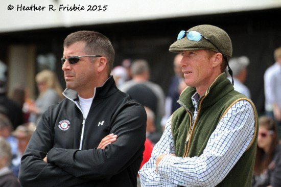 Robertino Diodoro (L) and Carl O'Callaghan watching a replay from the apron.