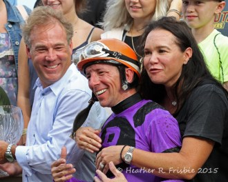 Scott and Angie Rake with jockey Dean Butler on Festival Day 2015