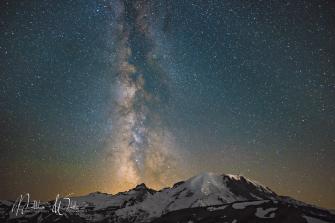 The Milky Way over Mount Raininer