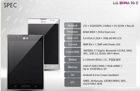 หลุด Spec LG Optimus Vu II อัพ Spec จากรุ่นแรกเล็กน้อย