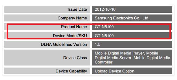 DLNA certification ผ่านอุปกรณ์ชื่อ Samsung GT-N5100 นี่คือ Tablet Galaxy Note รุ่นใหม่ ?