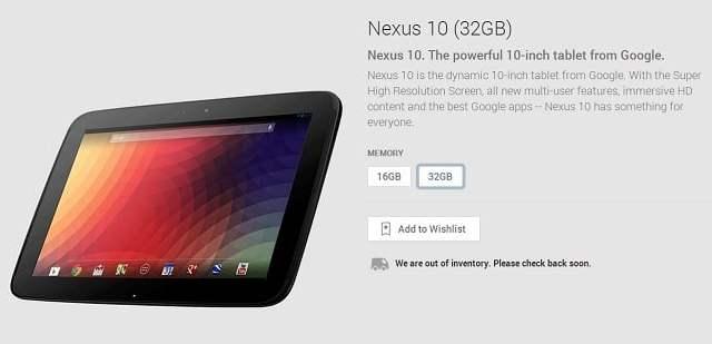 หมดไปอีกหนึ่ง Nexus 10 บนเว็บ Google Play เกลี้ยงแล้ว