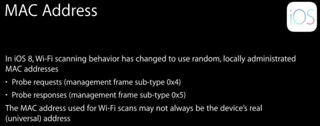 iOS 8 เปลี่ยนไปแสกน WiFi ด้วย MAC Address ปลอม ตามข้อมูลยากขึ้น
