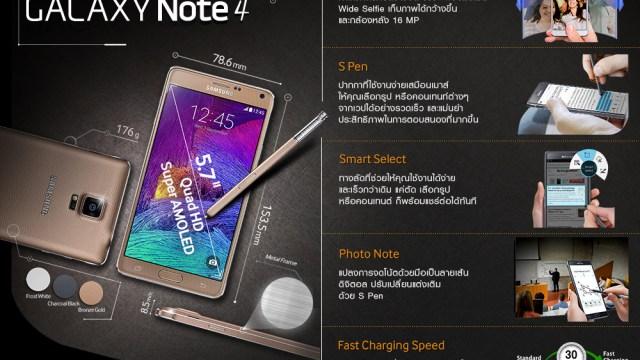 ภาพ Infographic แนะนำ Samsung Galaxy Note 4 กับฟีเจอร์เด่น 5 ประการที่ต้องลอง
