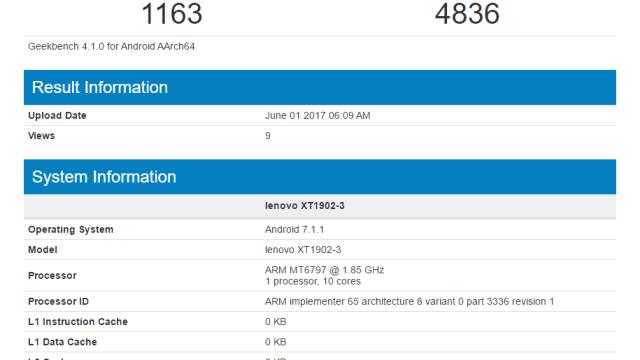ผุดชื่อ Lenovo XT1902-3 บน Geekbench รัน Nougat ชิป Helio X20