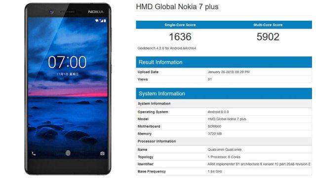 GeekBench ผุดสเปค Nokia 7 เวอร์ชั่นอัพเกรดชิป SD660 คาดเปิดตัว MWC2018