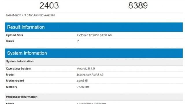 Geekbench ผุดคะแนนทดสอบ Xiaomi Black Shark 2 รัน Android 8.1 Oreo