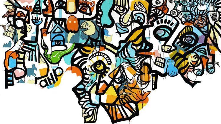 oeuvre d'art colorée de l'artiste aNa avec partie basse non finito exécutée sous forme de live painting participatif