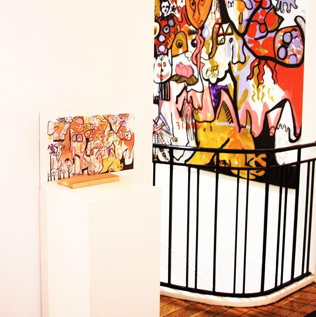 reproduction d'une fresque Tube aNa exposée en Galerie Boulevard Haussmann à Paris