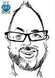 Caricature d'après photo d'un homme avec un grand front, des lunettes et une barbe brune