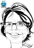Caricature d'après photo noir et blanc d'une femme brune avec lunettes