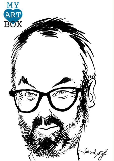 Caricature d'après photo d'un homme avec large barbe brune et lunettes sur le nez