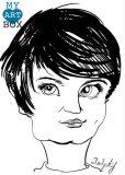 Caricature d'après photo noir et blanc d'une femme brune aux cheveux courts