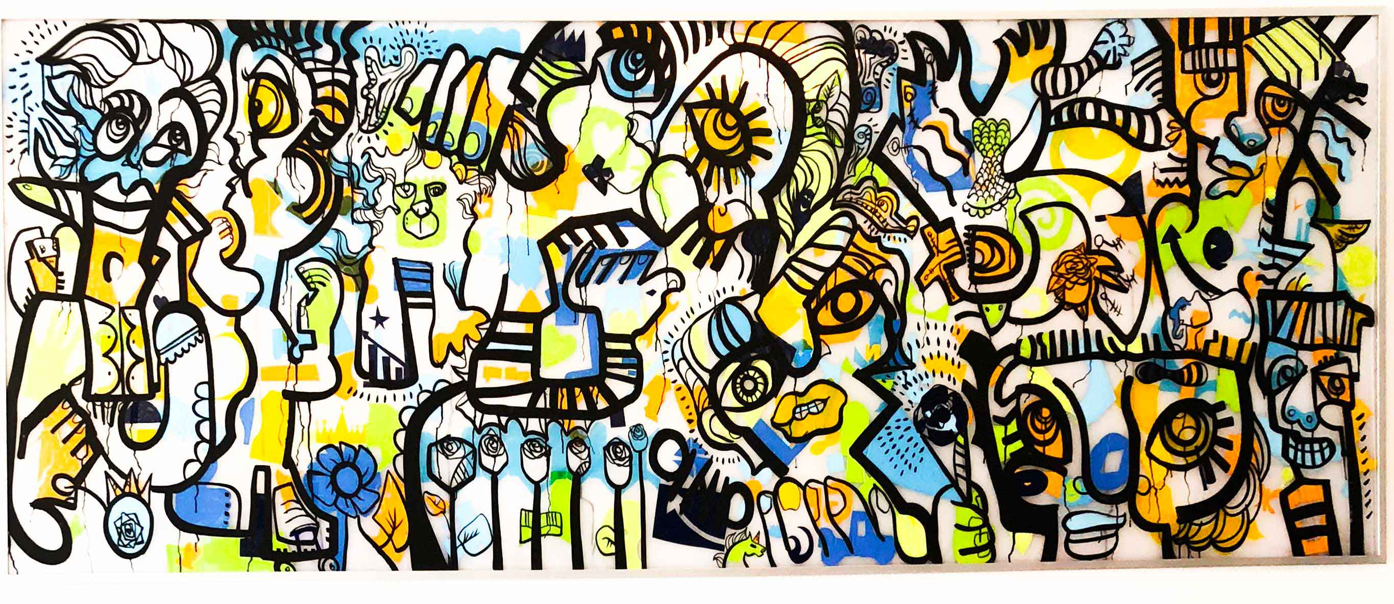 Fresque collective géante animation anniversaire entreprise Lyon exécutée en live painting par ana artiste et My Art Box pour les 20 ans de BioMerieux Logistique à Saint Vulbas