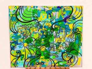 Fresque géante encadrée pré dessinée par aNa artiste dans l'atelier My Art Box et transportée et animée pour un Team Building Rennes pour l'Etablissement public foncier de Bretagne