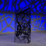 Un tube géant transparent avec dessin noir Totem Box XL exposé roulé sur la scène d'un amphithéâtre à Rouen avant une Animation Fresque My Art Box.