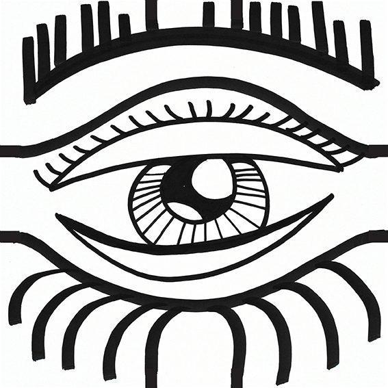 dessin d'un oeil en gros plan et en noit et blanc pour exprimer la vigilance