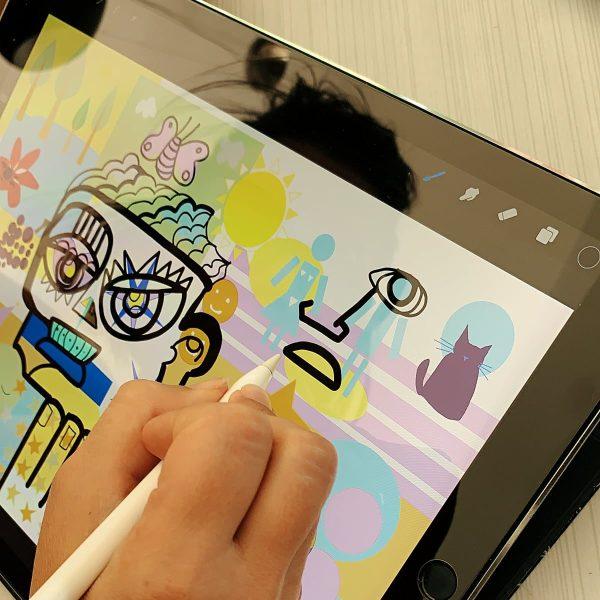 L'artiste aNa assemble toutes les idées produites en séminaire verbatim afin de créer une Fresque pour faire sens