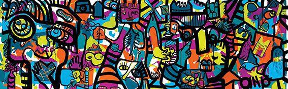Fresque Plexi aNa Artiste My Art Box oeuvre collective télétravail Hybride