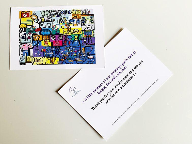 exemple de carte de remerciements originale adressée aux participants d'un team building fresque digital my art box avec aNa artiste