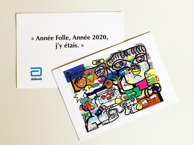 Carte de voeux originale créée avec le dessin de la Fresque Digitale ABBOTT par ana artiste et my art box