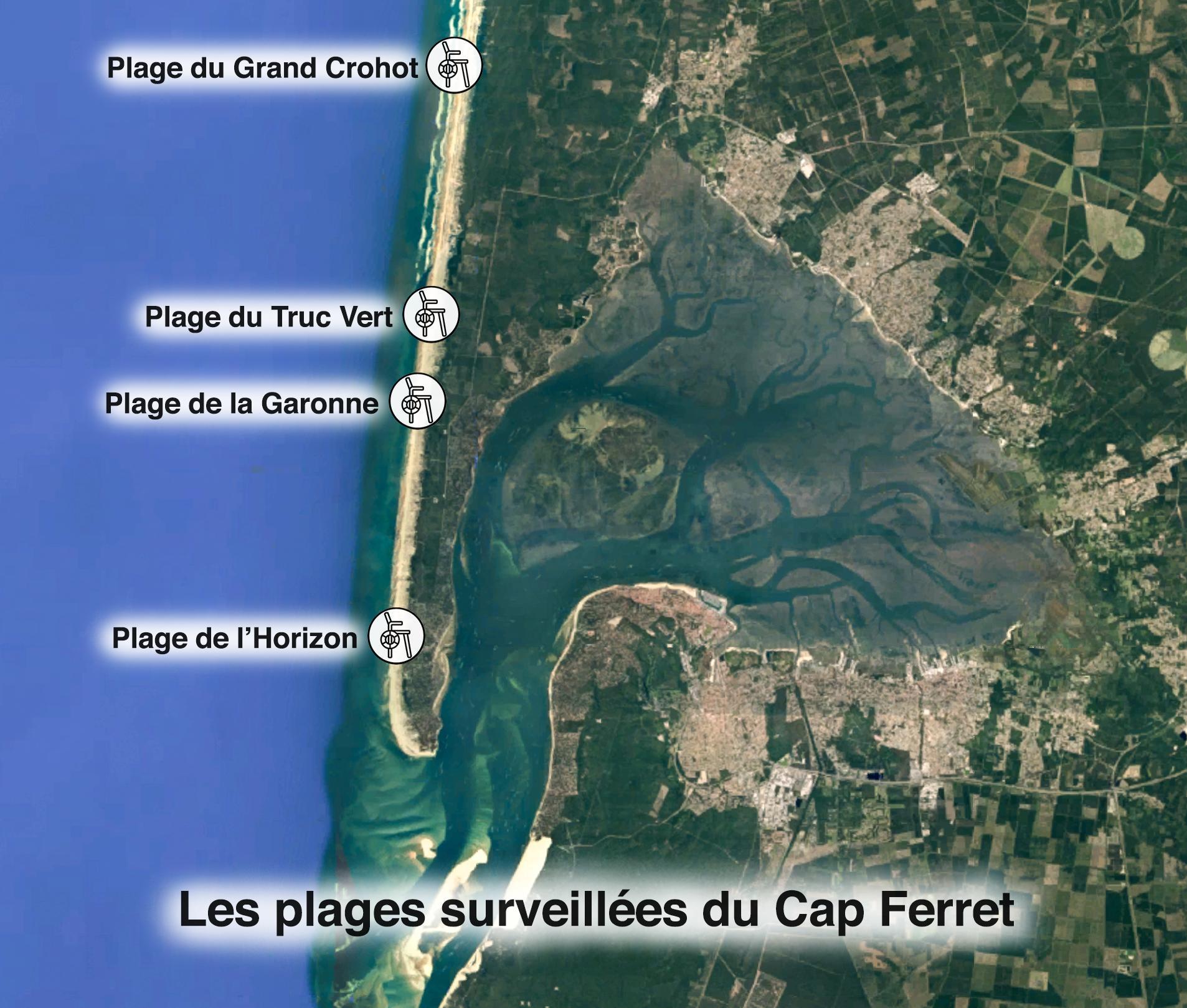 Carte des plages surveillées sur la presqu'ile de Lège Cap Ferret