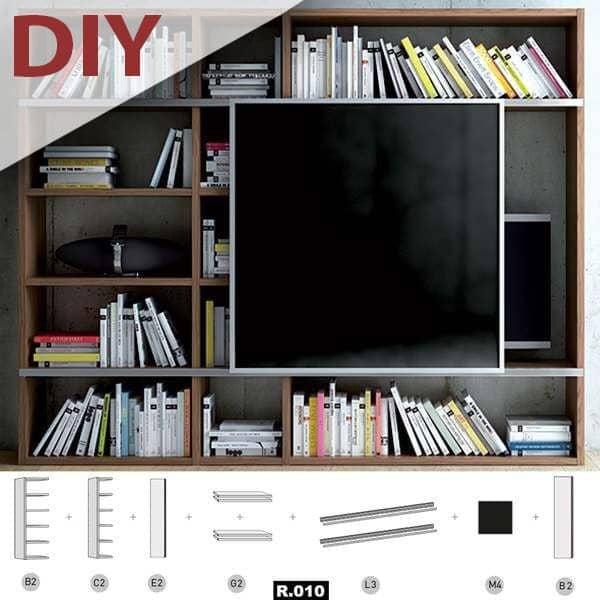 pombal diy creez votre systeme d etageres compartimente sur mesure de a a z bibliotheque meuble tv solutions de rangements