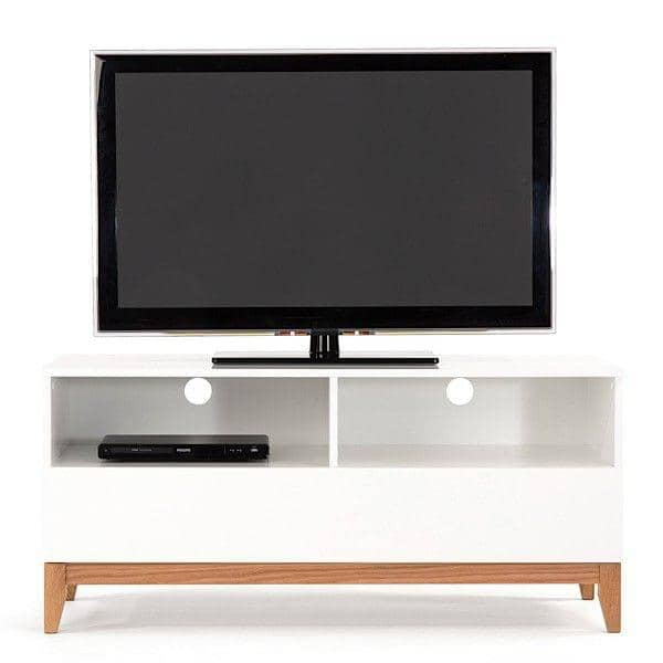 blanco tv unit 120 x 48 x 55 cm made in solid oak and white painted wood 1 large drawer