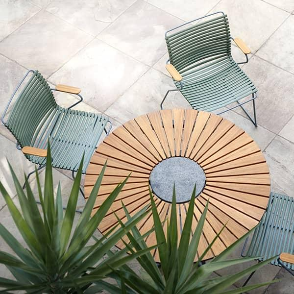 round dining table circle bamboo and granite powder coated aluminum outdoor