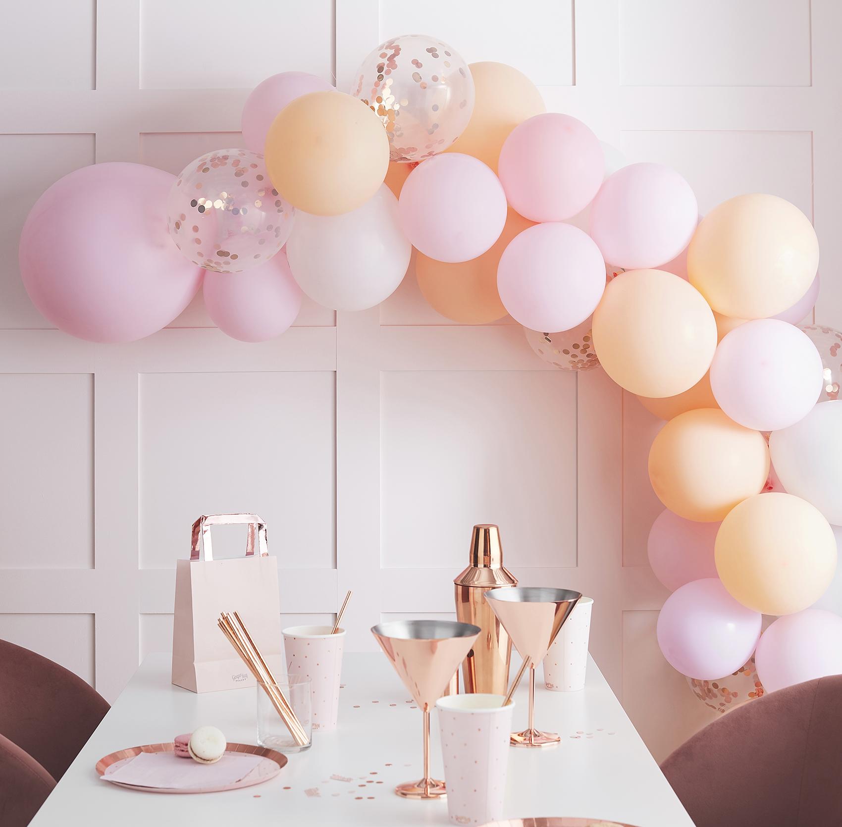 ballongirlande pastell rosa pfirsich