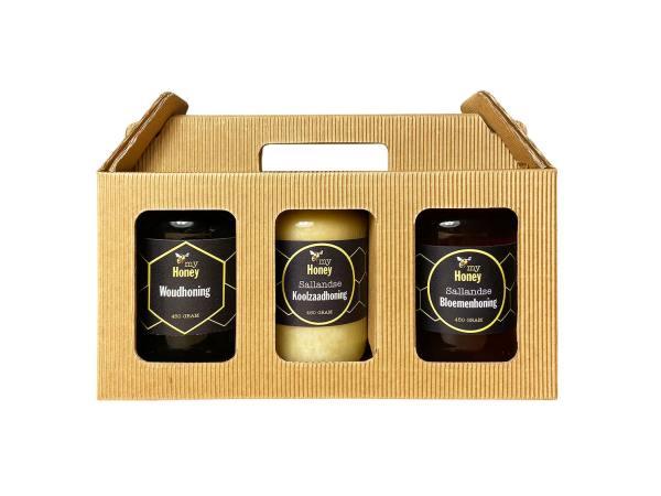 3 potten Sallandse Honing in cadeauverpakking