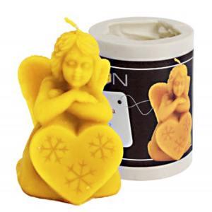 Lyson kaarsen gietvorm - Engel met sneeuwvlok op hart - hoogte 8 cm [FS412]