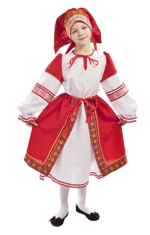 Костюм народный с красной поневой детский p0108 купить в ...