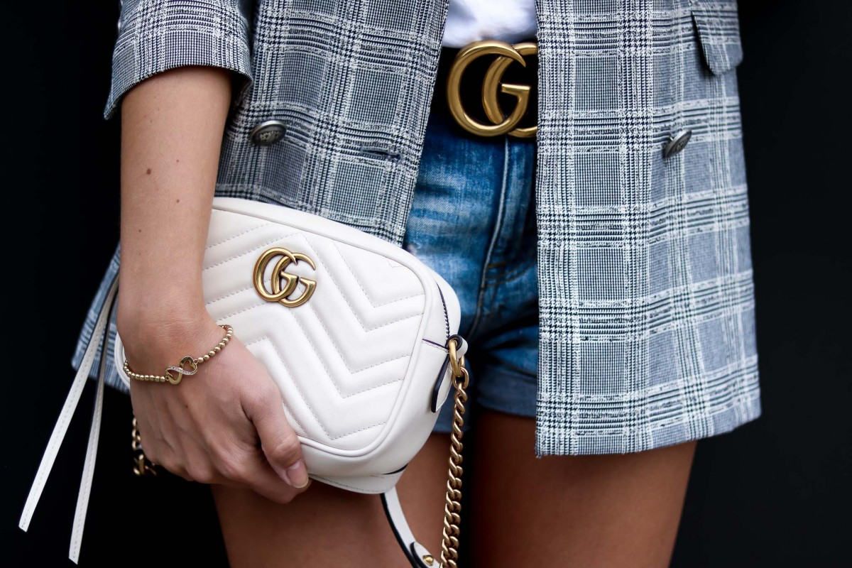 Outfit Details Gucci Belt and white Gucci Marmont Bag