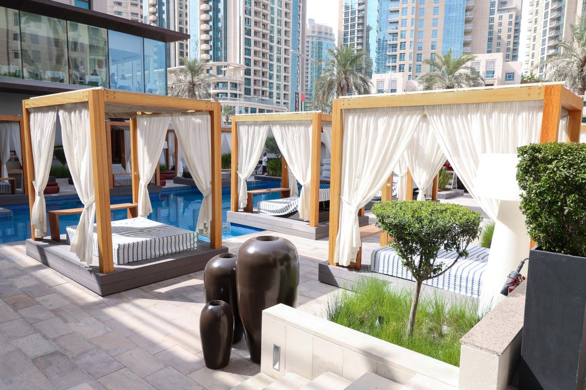 Vida Downtown Dubai sunbeds pool area