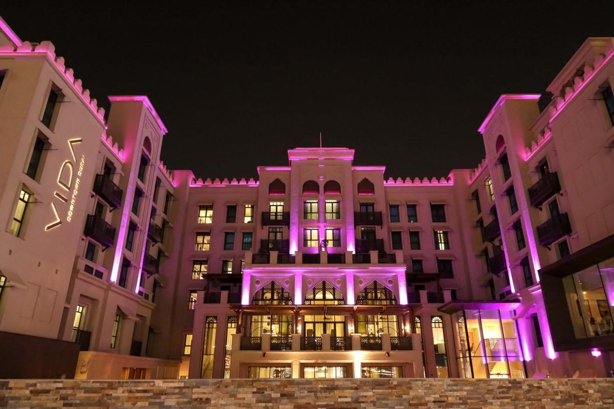 Vida Downtown Dubai by night