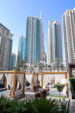 Vida Downtown Dubai sunbeds pool and skyline