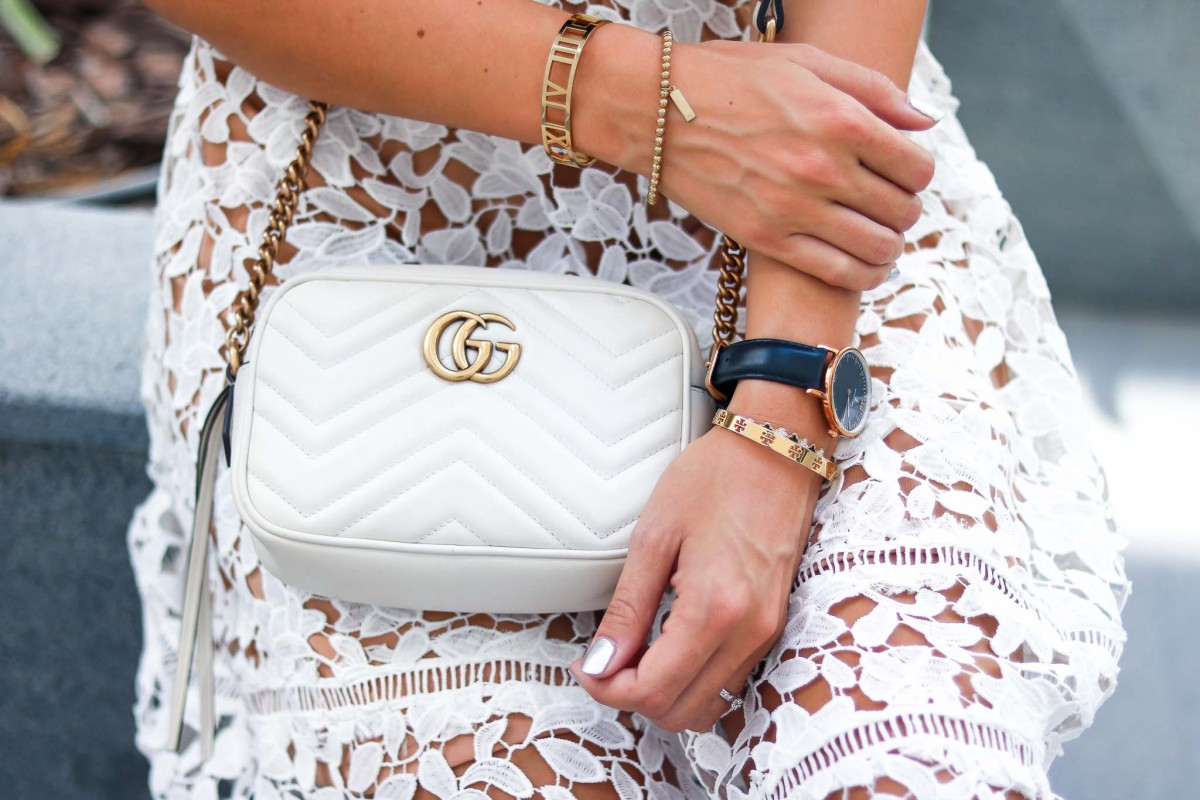 Outfit Details: Gucci Marmont and white lace Midi Skirt
