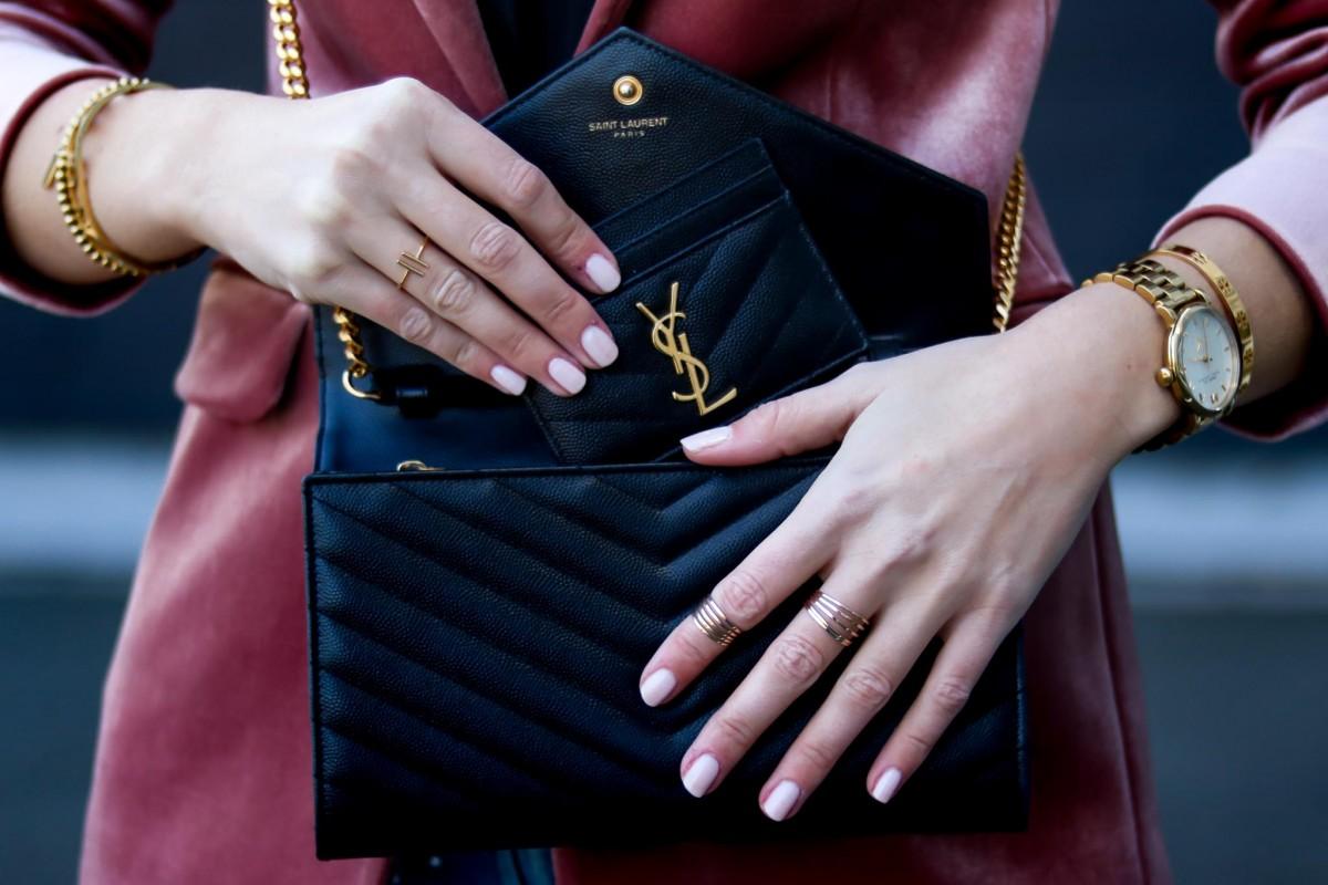 Outfit My Philocaly: Velvet Blazer, Jeans mit Perlen, High Heels, Saint Laurent Tasche, YSL Bag