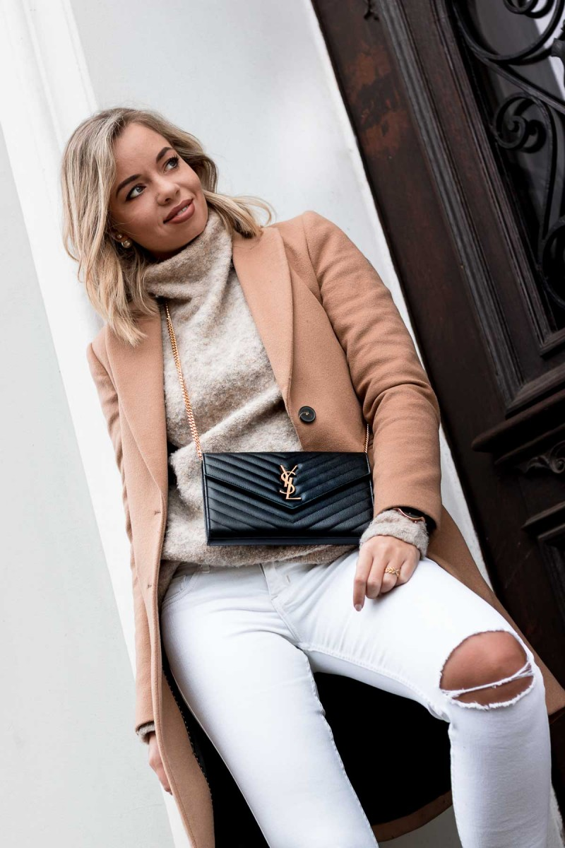Goals, Projects & Resolutions for 2019 - Outfit Camel Coat, white Jeans, YSL Bag, Chelsea Boots