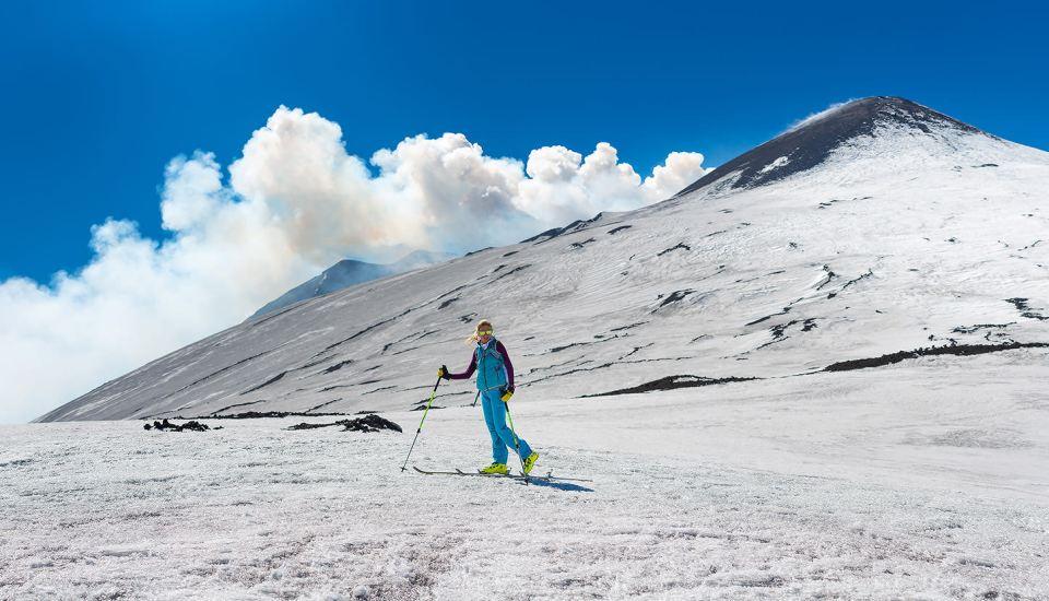 skiing on mount etna, sicily, etna