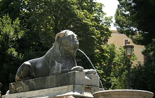 the lions at the foot of the Campidoglio