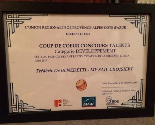 concours Talents BGE PACA développement coup de coeur jury my sail croisiere mediterranee