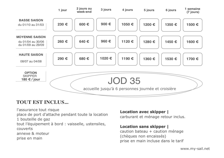tarifs location voilier regate course JOD 35 var port des embiez provence cote azur marseille