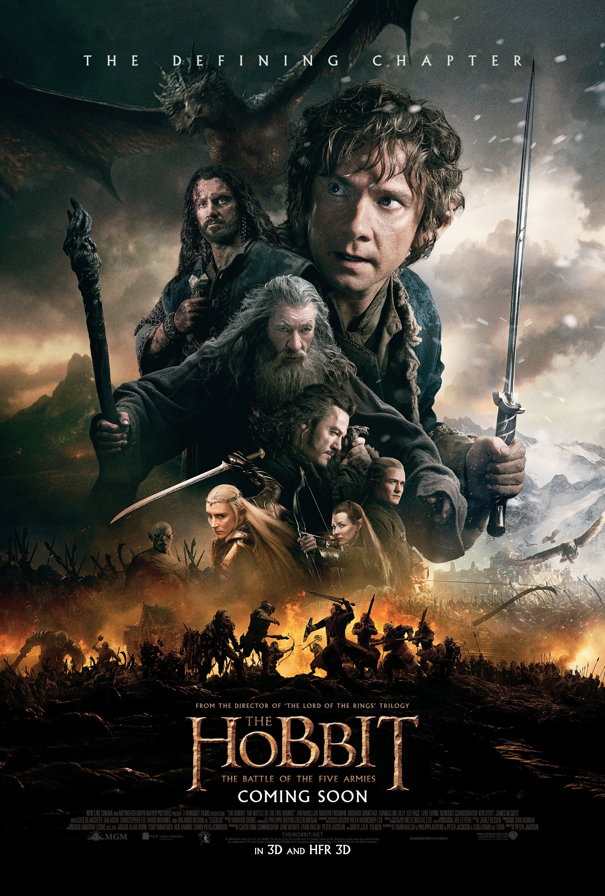 """""""The Hobbit - The Battle of the Five Armies"""" theatrical teaser poster."""