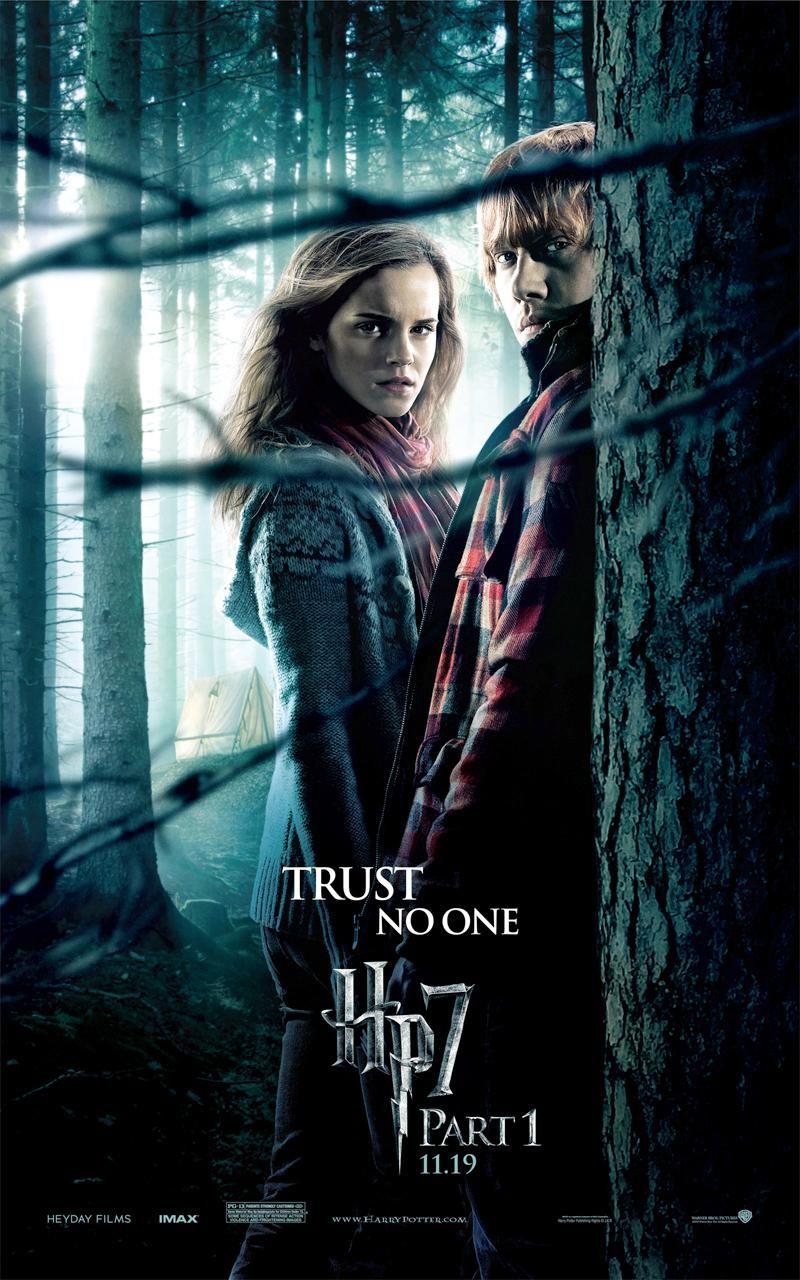 """""""Harry Potter and the Deathly Hallows Part 1"""" theatrical teaser poster with Hermione and Ron."""