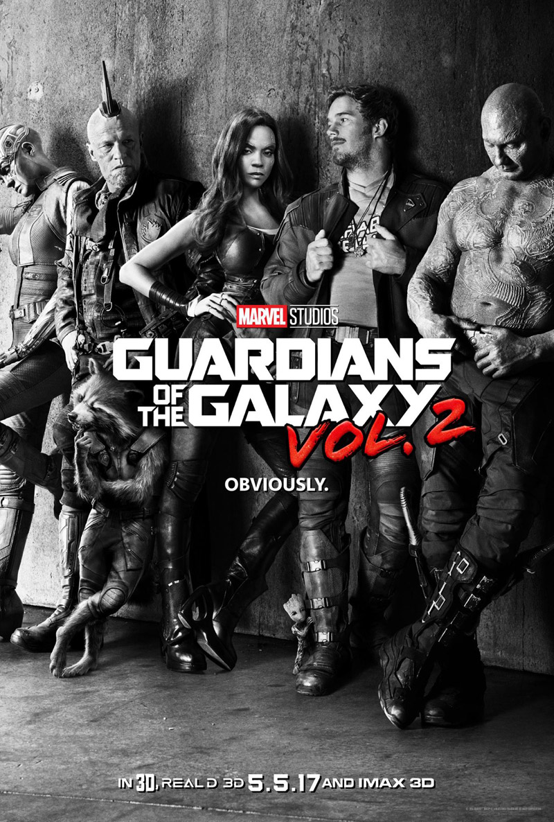 """""""Guardians of the Galaxy Vol. 2"""" black and white IMAX theatrical teaser poster."""
